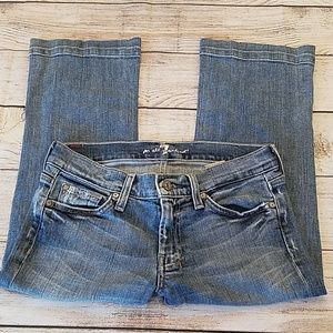 7 For All Mankind Sz 27 Distressed Capri Jeans